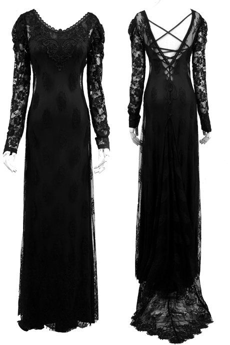 e119d477c96681 Her Secret World Long Gothic Dress by Punk Rave - XL ONLY | Witchy ...
