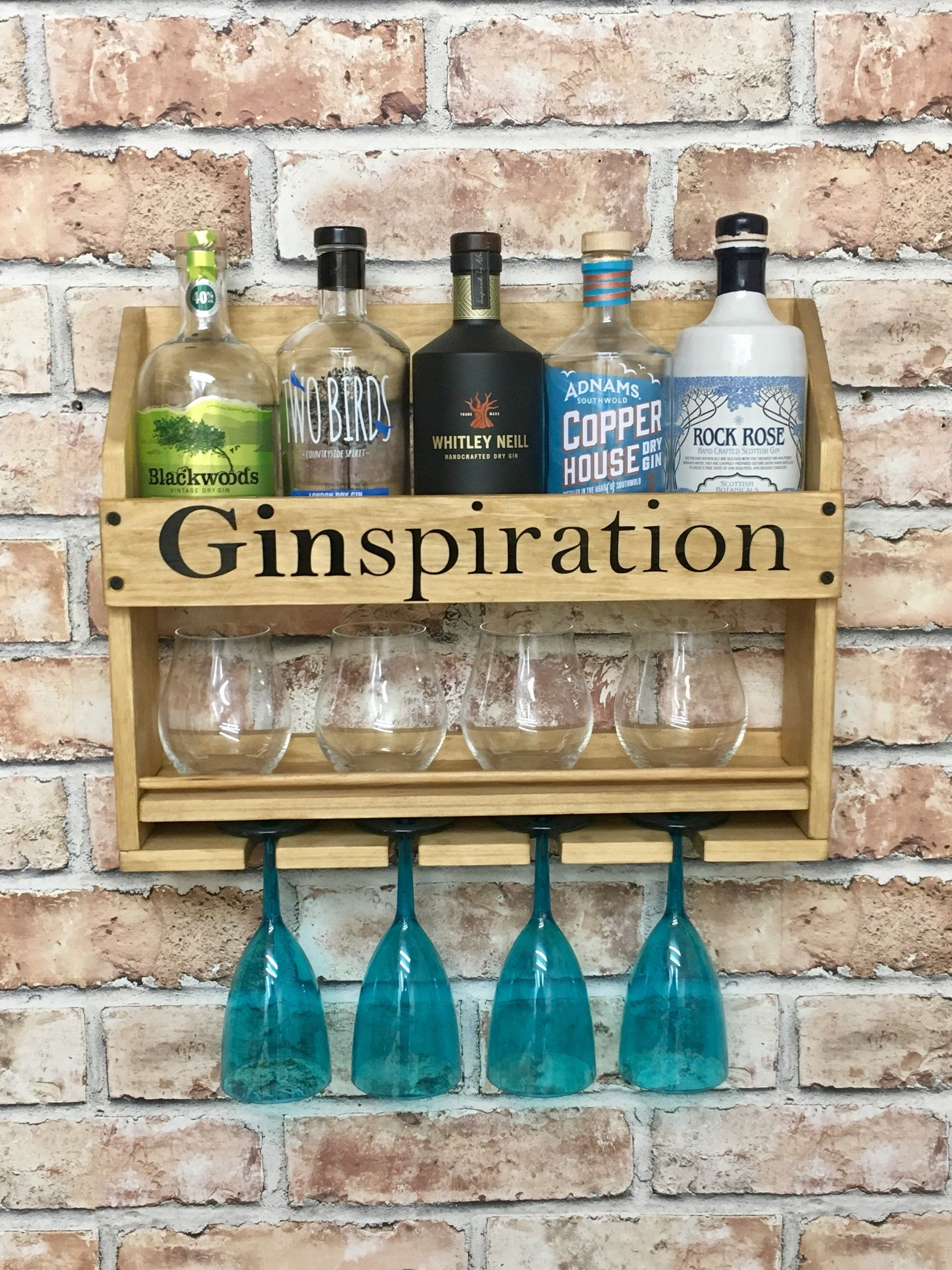 Personalised Drinks Rack Home Bar Cocktail Cabinet Rustic Wall Mounted Gin Wine Whisky Prosecco Vodka By Ru Cocktail Cabinet Gin Bar Home Cocktail Bar