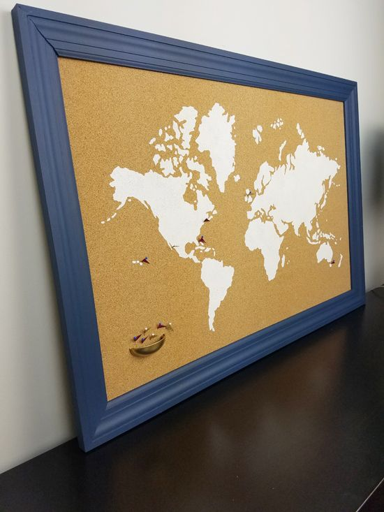How to stencil a cork board using the world map pattern cork a diy stenciled cork board using the world map wall art stencil from cutting edge stencils gumiabroncs Choice Image