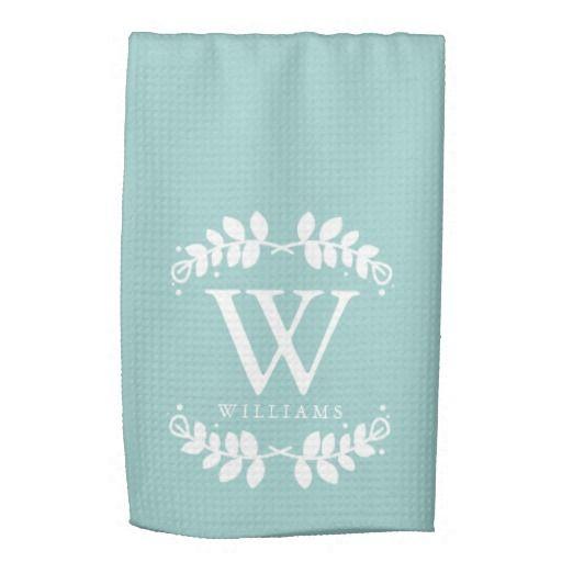 Elegant Mint Green Monogram Kitchen Towel Zazzle