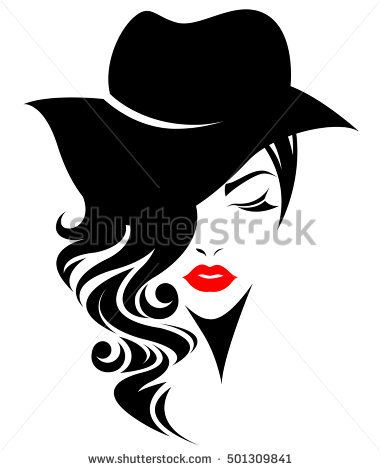 Illustration Of Women Long Hair With A Hat Retro Logo