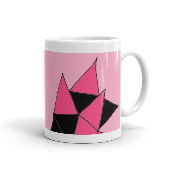 Pink with Hot-Pink and Black Triangles on a Matching Ceramic Mug