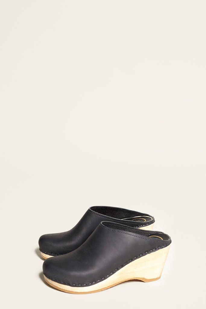 3fd49270636 No.6 New School Clog on Wedge in Black
