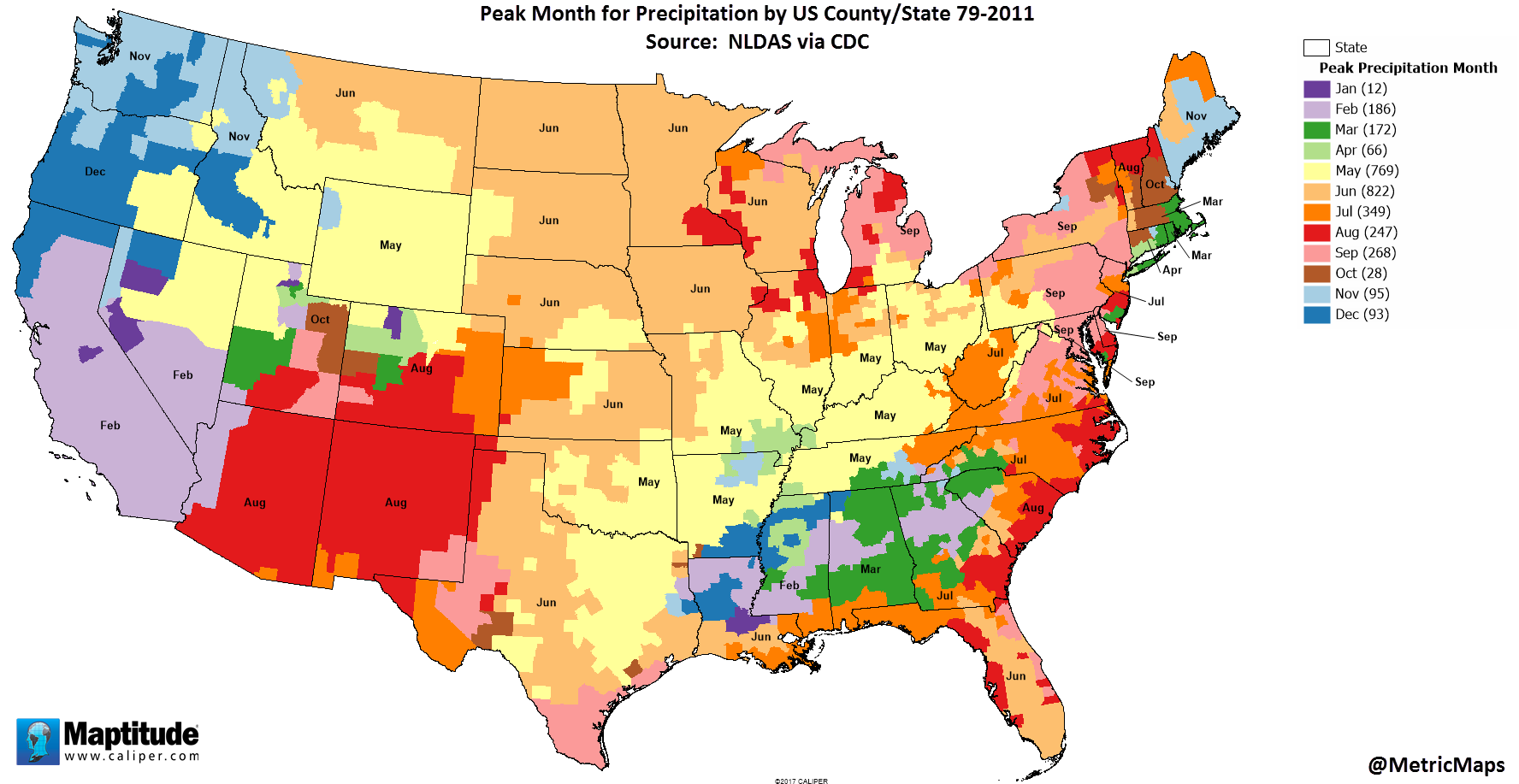 Peak month for precipitation by U.S. county Illustrated