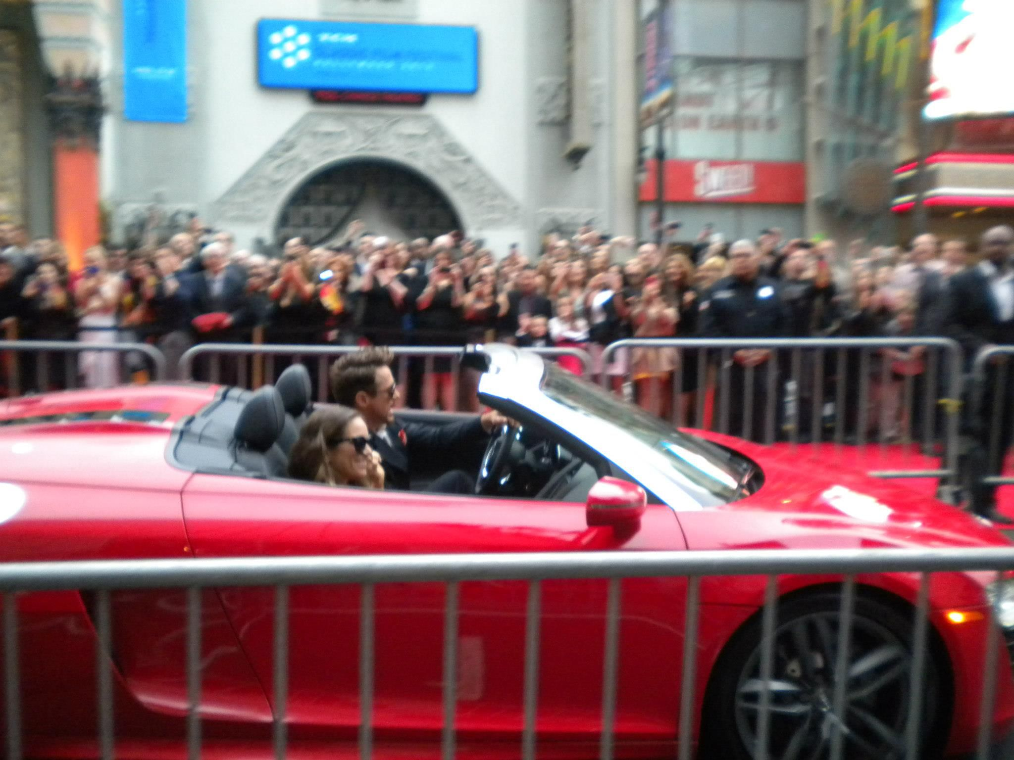 """Robert Downey Jr. and Susan Downey arrive in style at the U.S. premiere of """"Iron Man 3"""" in Hollywood."""