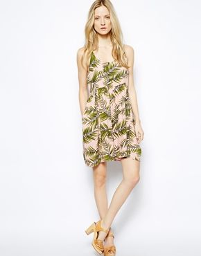 Ganni Strappy Dress in Palm Leave Print