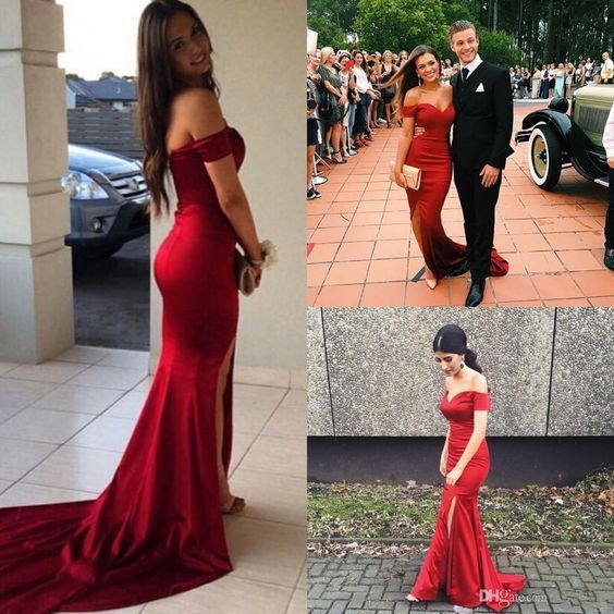 red long off the shoulder prom dress,Gorgeous Off-the-shoulder ...