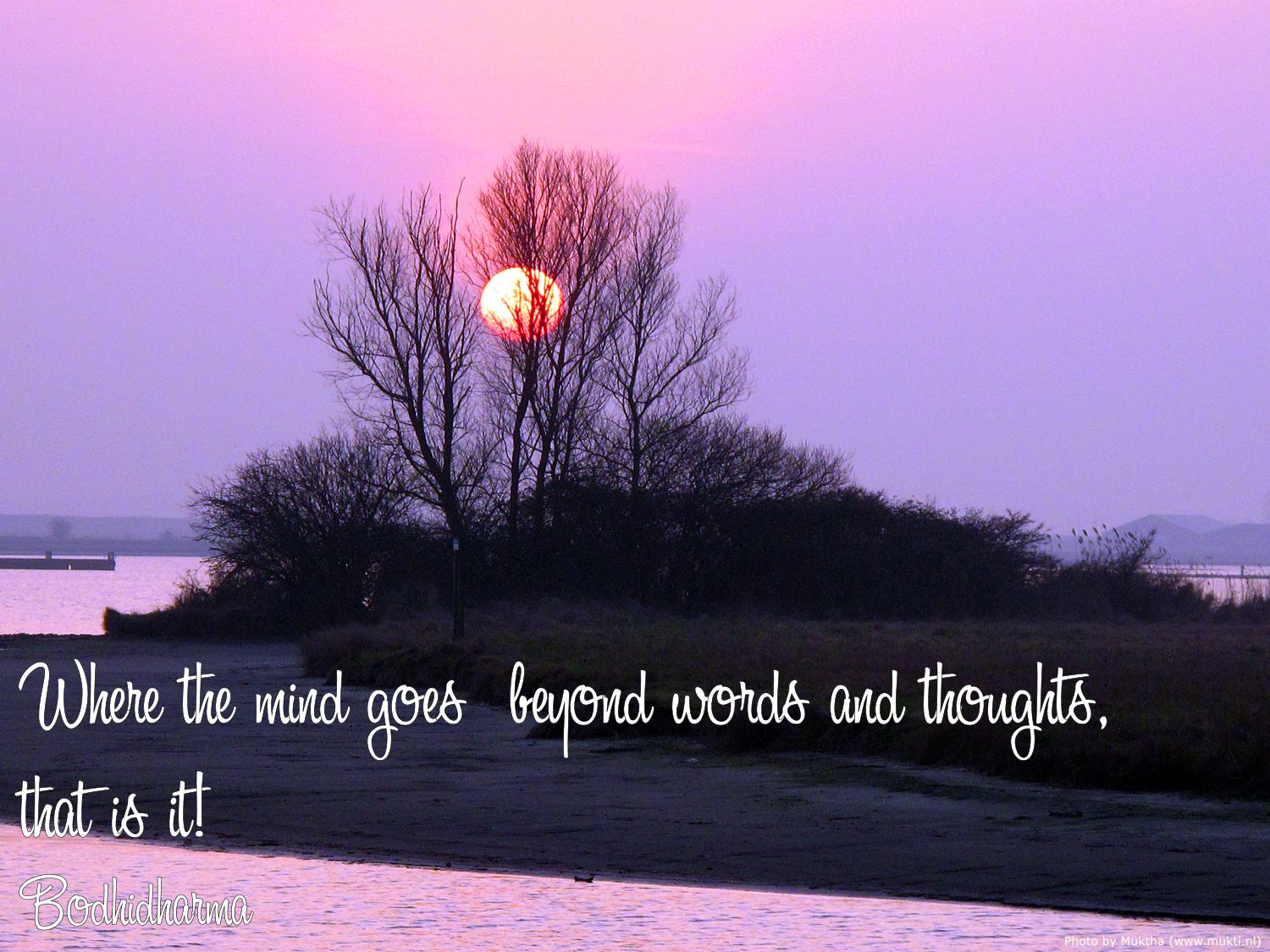 Where the mind goes beyond words and thoughts,   that is it!  Bodhidharma