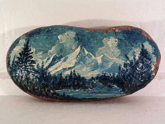 Original Landscape Painting on large river rock..by Rowell