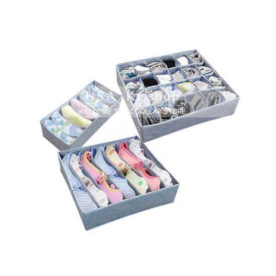 New 3pcs Set Divider Closet Container Organizer Storage Box Underwear Bra  Socks
