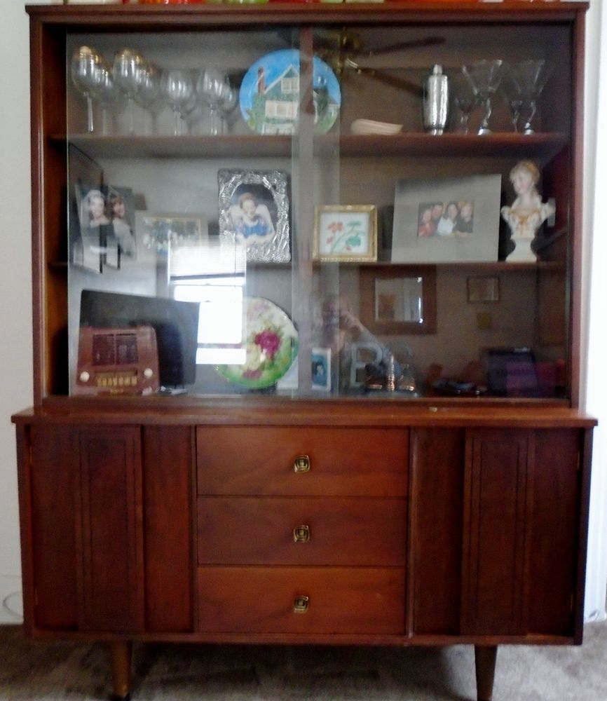 midcentury modern china cabinet glass hutch bookcase buffet sideboard bar