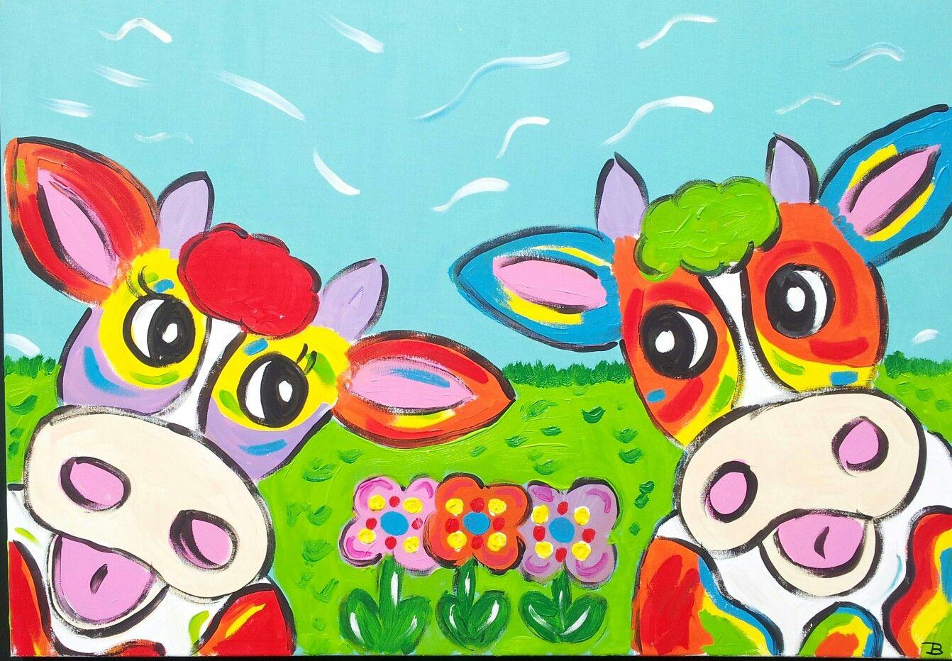 Vrolijke koeien schilderij