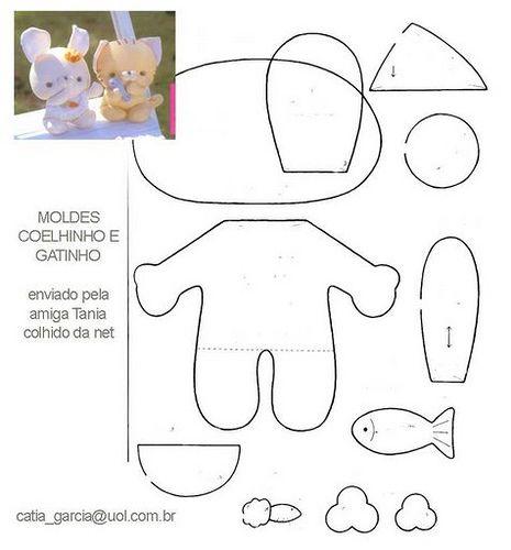 stuffed animal templates free - coelho gatinho bunny sewing patterns and felt patterns