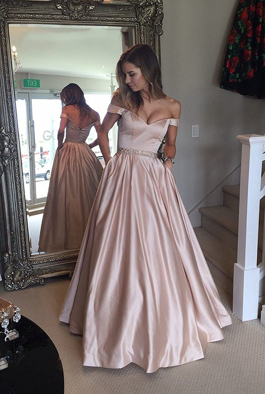 Lovingdress prom dresses satin a line off the shoulder