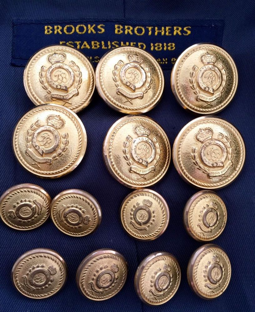 BROOKS BROTHERS BLAZER GOLD BUTTON REPLACEMENT SET BB IN CIRCLE CREST & CROWN  | eBay