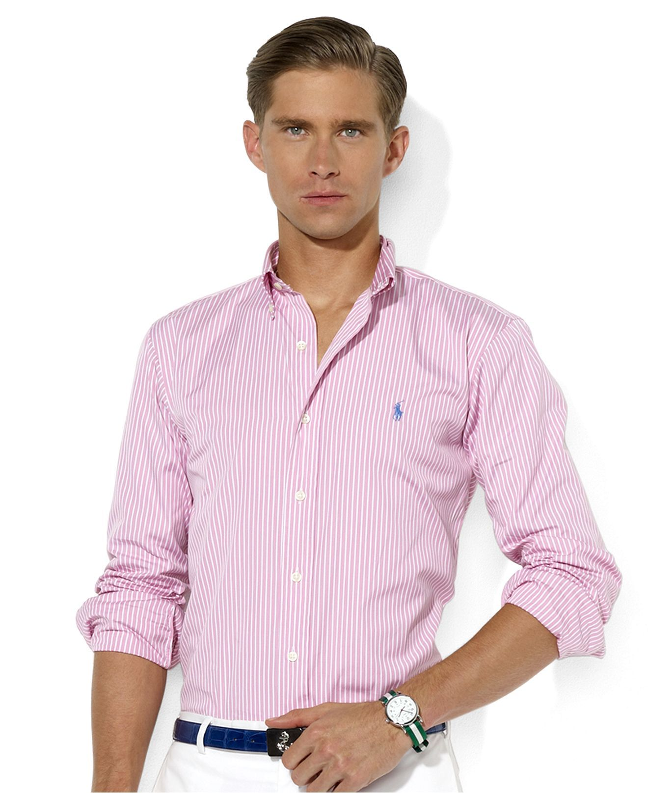 ShirtLong Lauren Sleeve Stripe Polo Ralph Custom Fit Poplin Shirt gYbf76yv