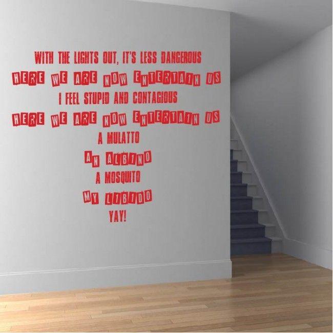 Entertain Us Wall Sticker Nirvana Wall Art | Song Lyric Wall ...