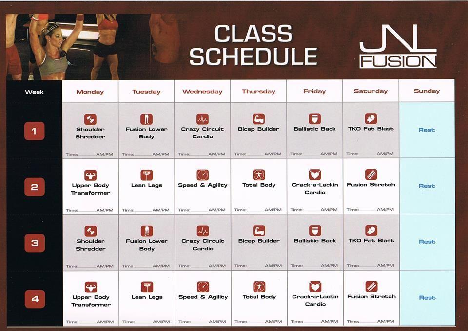 Jnl Fusion Fitness Schedule Part 1 Workout Schedule Workout Calendar Workout Diet Plan