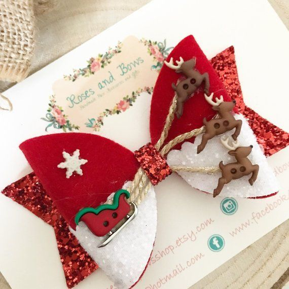 Santas Sleigh Christmas Hair Bow  Christmas Hair Bow Headband -Glitter Bow Headband -Baby Bow  Baby Headband  Girls Headband#colorful  #photooftheday #cute  #picoftheday #beautiful  #pretty  #friends  #cool  #portrait  #skirt #dress #styleseat #fashiondaily #fashionbags #fashionpria #hairbows