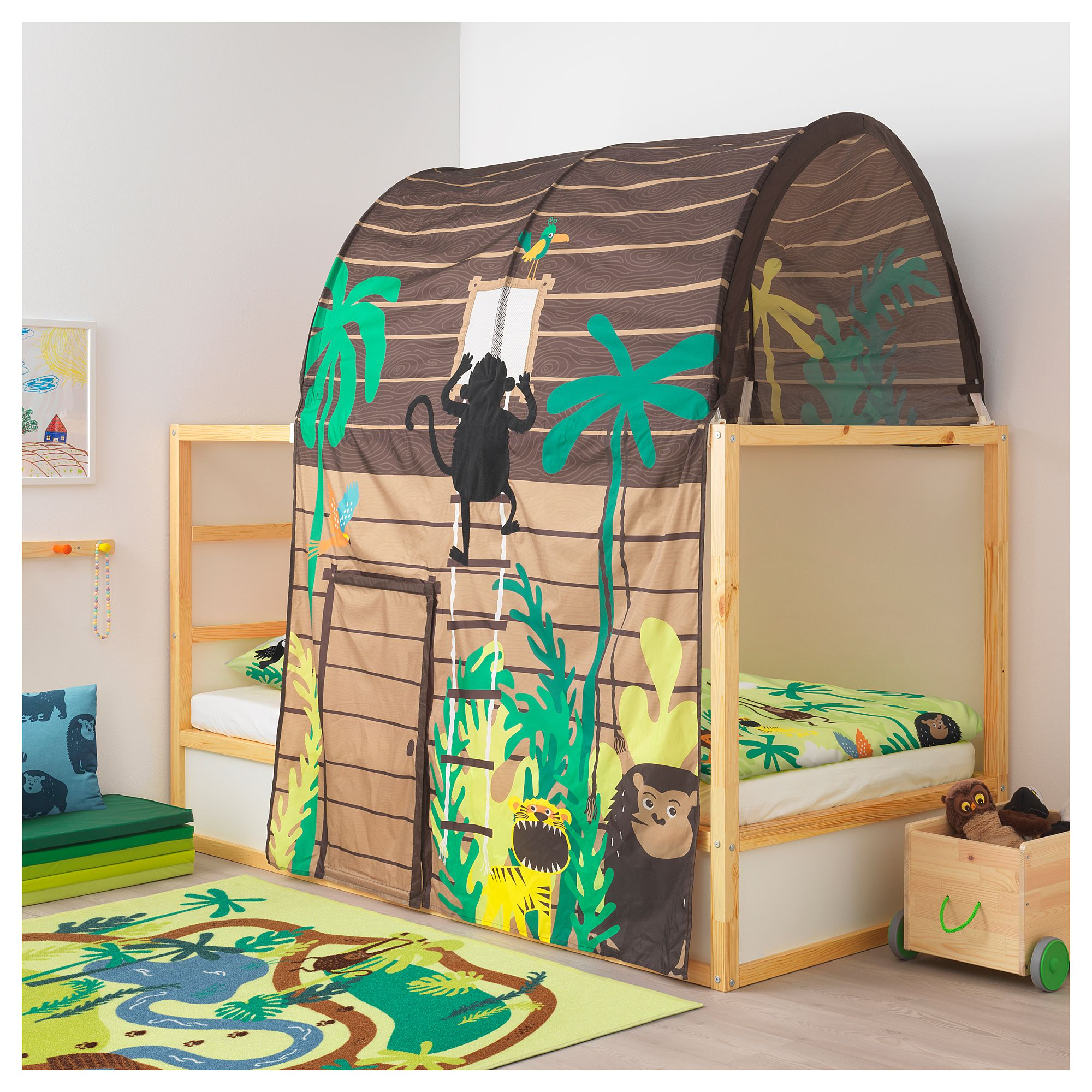IKEA KURA Bed tent with curtain hut brown Bed tent