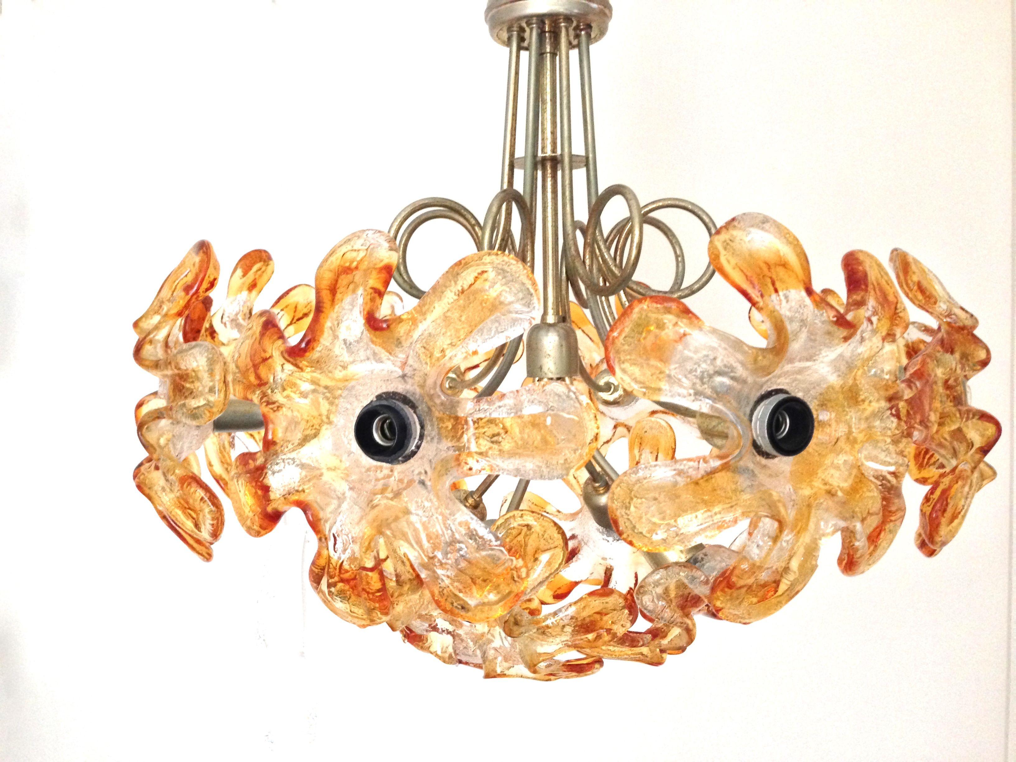 mid murano lighting chandelier century orange flowers pin