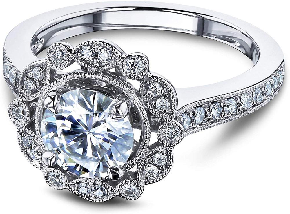Kobelli Vintage Floral Moissanite Halo Ring (DEF/VS