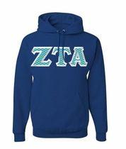 $40 Zeta Tau Alpha Custom Twill  Hooded Sweatshirt
