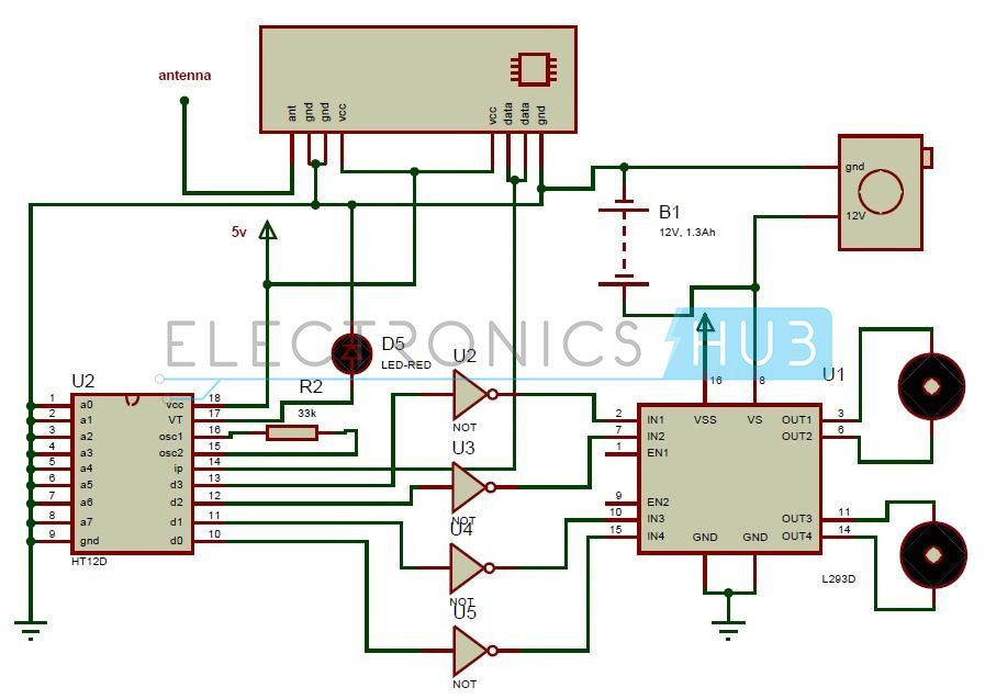 Simple Robot Circuit Diagram | Remote Operated Spy Robot Circuit Robotics Pinterest Circuit