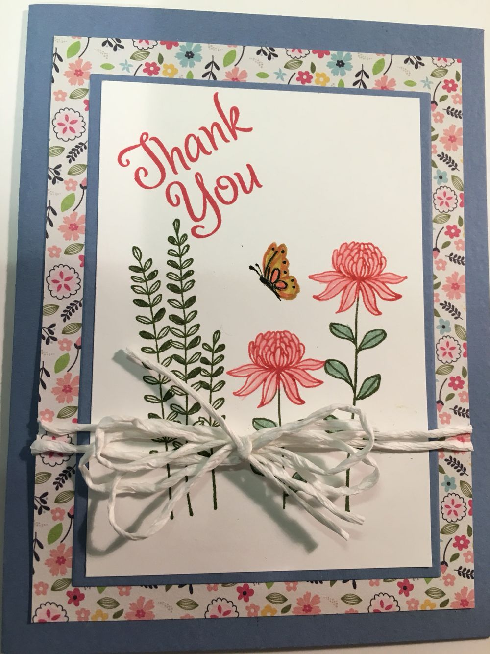 Beautiful Thank You card using Stamping Up's Flowering Fields.