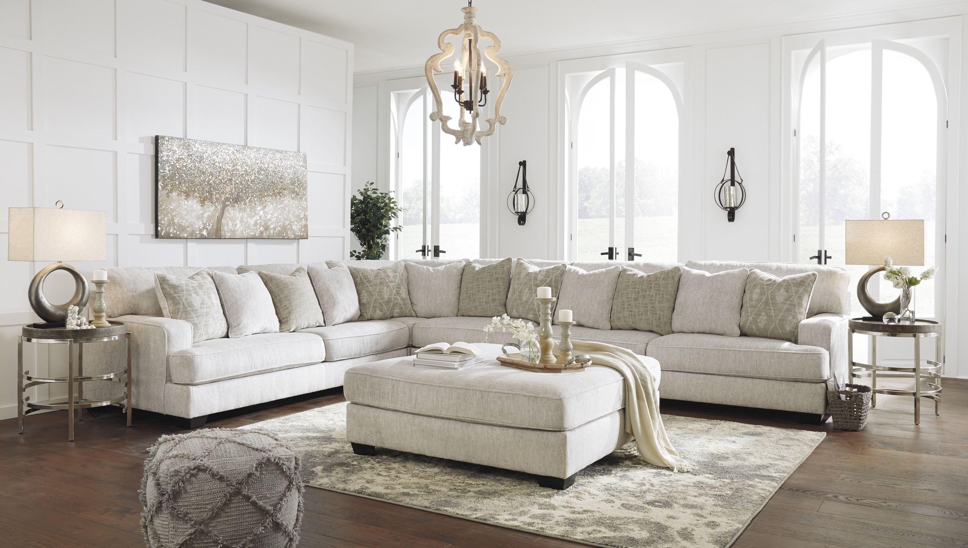 Rawcliffe Parchment 4 Piece Raf Sectional Asl 1960446 1960466 1960467 1960477 In 2020 Living Room Sectional Living Room White Furniture