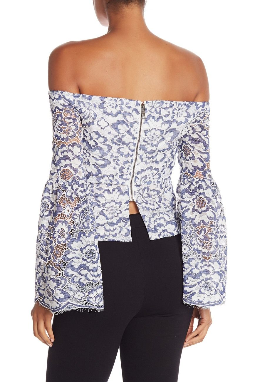 3f457aad8b652 Image of BCBGMAXAZRIA Floral Lace Off-The-Shoulder Top