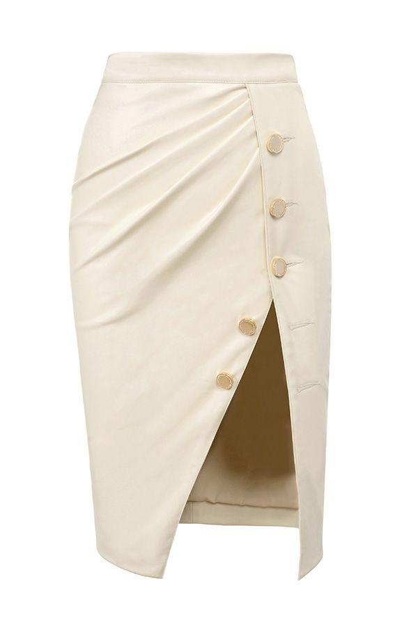 Clothing : Skirts : 'Maja' Cream Vegan Leather Thigh Split Skirt