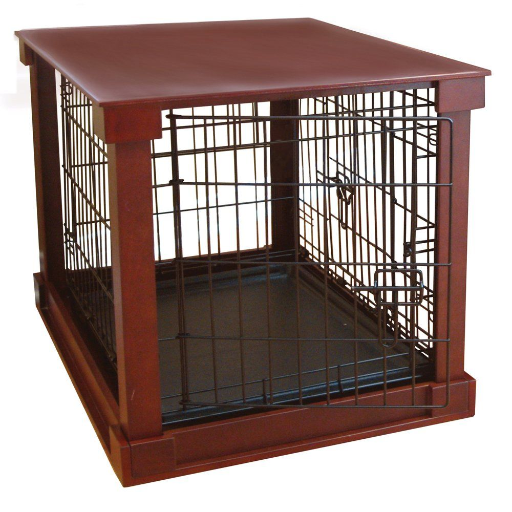 Indoor Wooden Mobile Dog Pet Cage With Crate