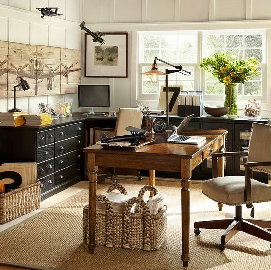 pottery barn office for Him. blacks, browns. neutrals