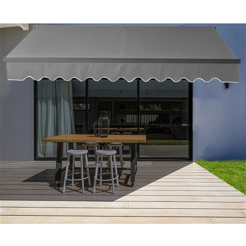 Retractable Patio Awning 12x10 Feet Gray With Black Frame Aleko In 2020 Patio Awning Patio Canopy Awning