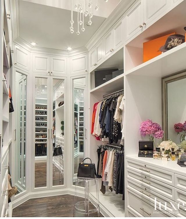 Three Way Mirror Created By Mirrored Closet Doors. @luxemagazine Styled  This Closet.