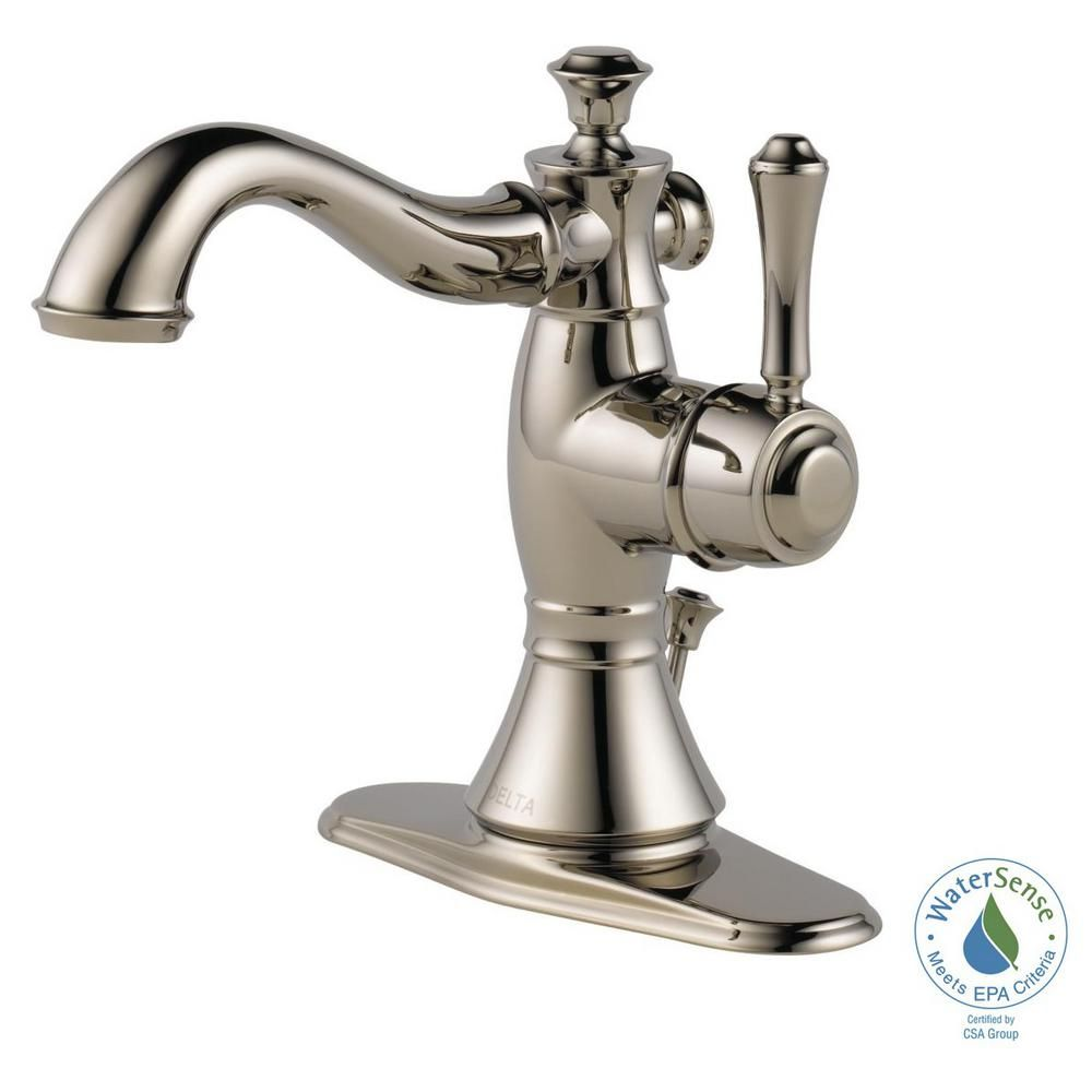 Delta Cassidy Single Hole Single-Handle Bathroom Faucet with Metal ...