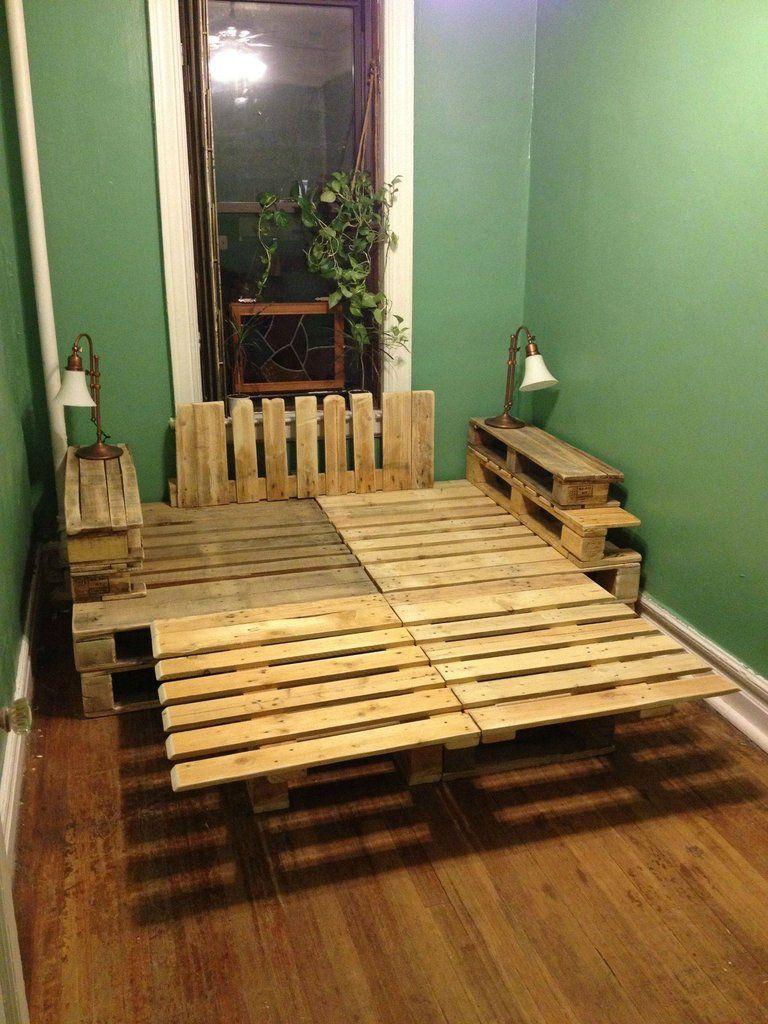 Pallet bedroom furniture plans - Pallet Bed