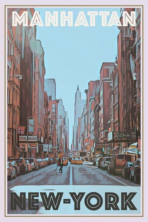 MANHATTAN - NEW-YORK - Vintage Travel Poster