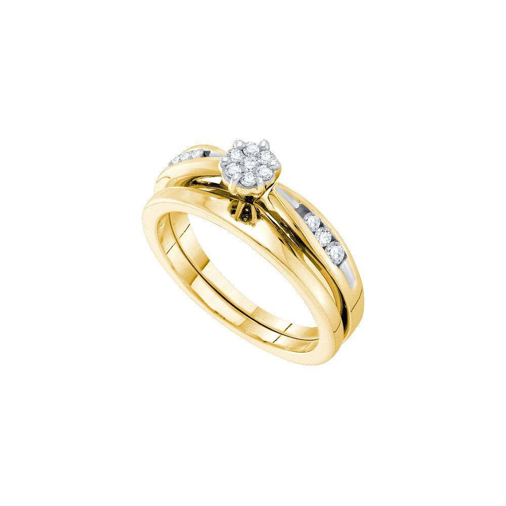 14k Yellow Gold Womens Natural Round Diamond Bridal Wedding Engagement Ring Band Set 1/4 Cttw