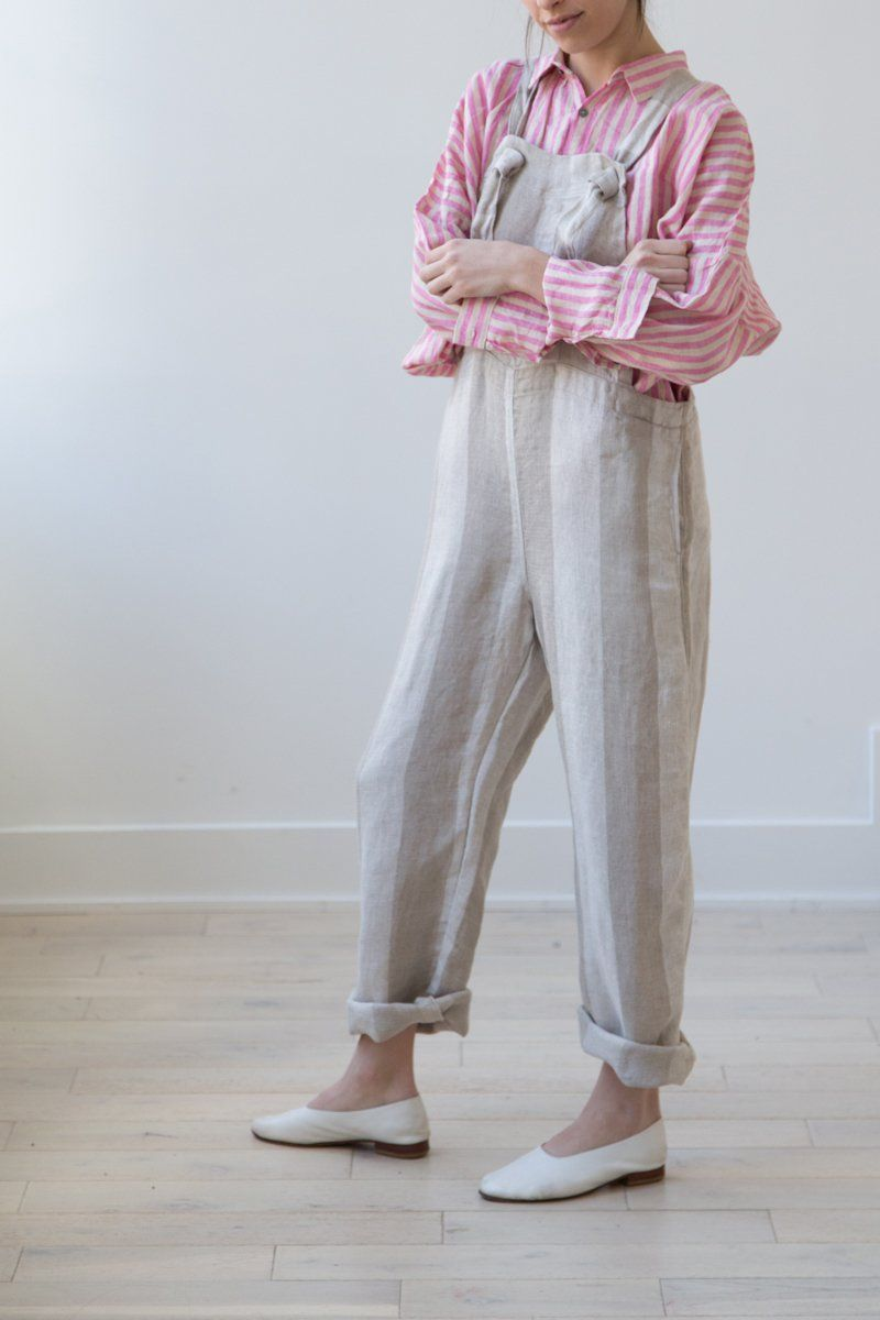 ded325eb2e Ichi Antiquites Striped Natural Overalls Overalls Outfit