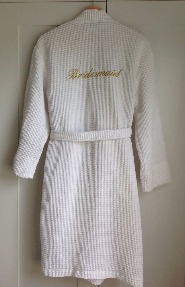Small Short White Waffle Weave Bridemaid Dressing Gown With Gold ...