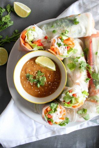 Thai Sommerrollen mit Erdnuss-Dip #peanutrecipes
