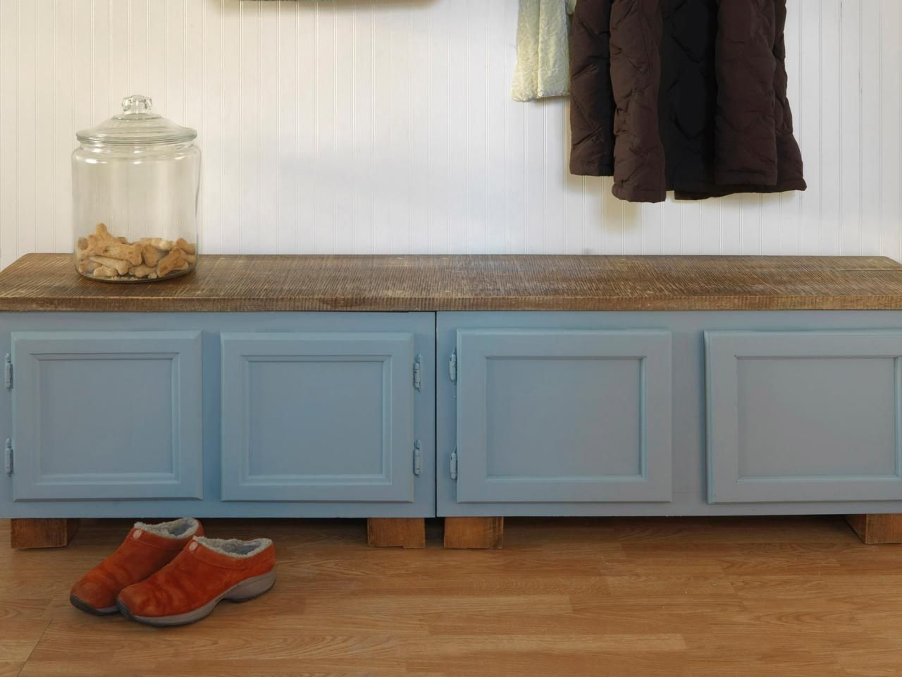 How to make a mudroom bench using old kitchen cabinets for Building a mudroom bench