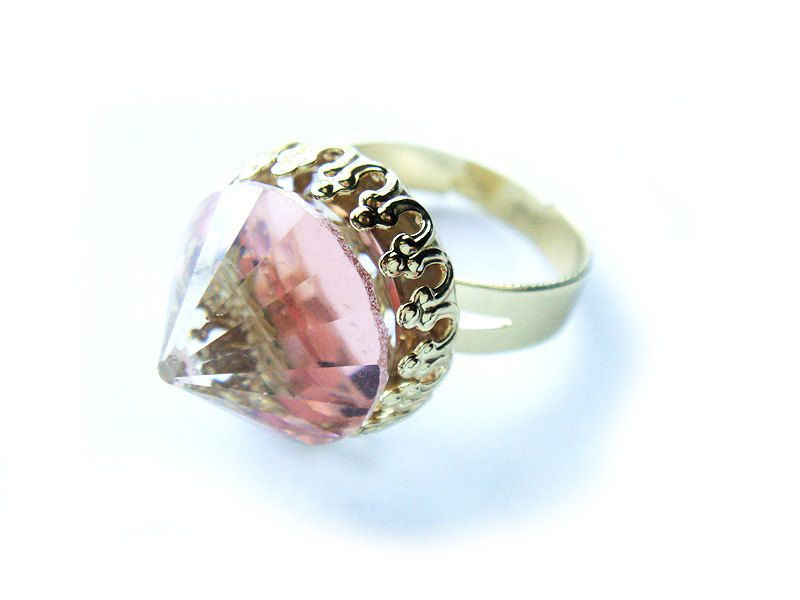 Extremely Rare Pink Peach Vintage Swarovski Crystal Ring Swarovski Crystal Rings Swarovski Crystals Color Ring