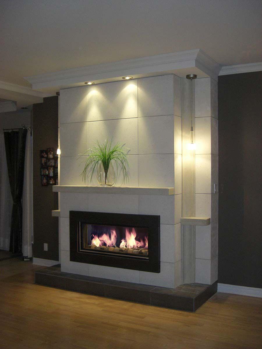 Mur wall bks 3056 tablette wall shelf foyer en 2019 modern fireplace small foyers et - Decoration foyer salon ...