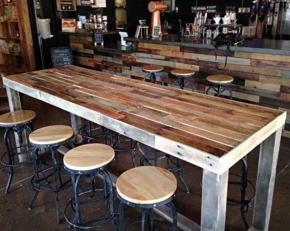 Reclaimed Wood Bar Table Restaurant Counter Community Communal Etsy Wood Bar Table Reclaimed Wood Bars Bar Table