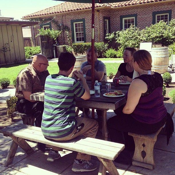 Employees enjoying BBQ for lunch for ORW employee appreciation! #oakridgewinery
