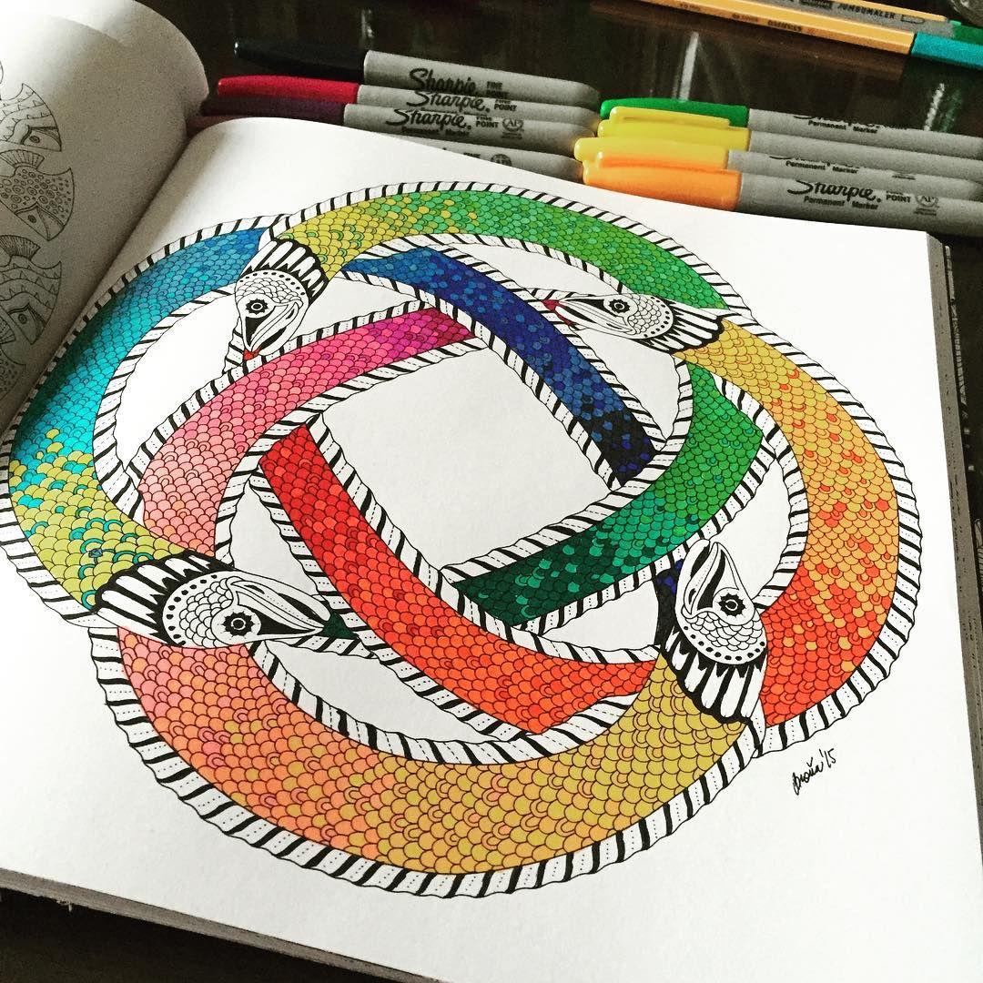 Funny Fish Coloringtherapy Coloringbook Lostocean