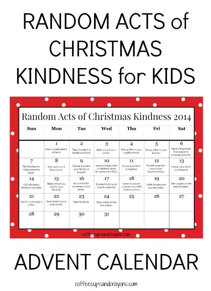 Advent Calendar List Ideas : Random acts of christmas kindness printable advent